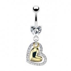 Piercing nombril blanc avec un cœur doré Hautin Piercing nombril10,60€