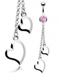 Piercing nombril rose et deux coeurs acier Kyr NOM311