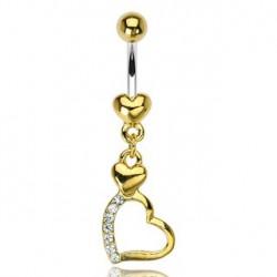 Piercing nombril doré avec triple cœurs Jair Piercing nombril6,60€