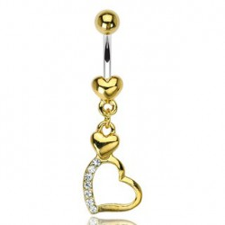 Piercing nombril doré coeur triple Jair NOM315