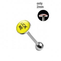 Piercing langue acier et logo lick me jaune gafé LAN145