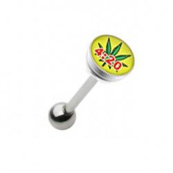 Piercing langue acier et logo feuille de cannabis 4.20