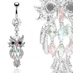 Piercing nombril hibou et cristal blanc Kat NOM323
