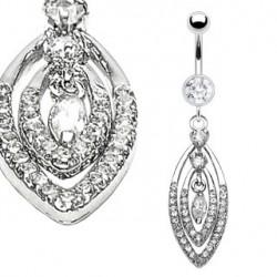 Piercing nombril anneaux ovale et zirconium Xut NOM328