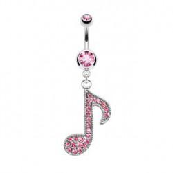 Piercing nombril clé de musique rose Suraz NOM329