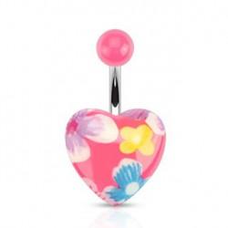 Piercing nombril coeur en fleurs Kozy NOM331