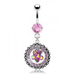 Piercing nombril anneau et fleur rose Dap NOM332