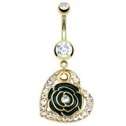 Piercing nombril fleur et coeur doré Ruit NOM333