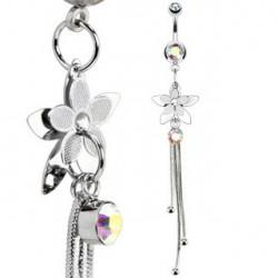 Piercing nombril aurore boréale avec fleur acier Kyr Piercing nombril7,85€