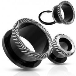 Piercing tunnel acier noir ciselé 10mm Saty PLU082