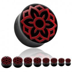 Piercing plug fleur de lotus rouge 14mm Sop PLU084
