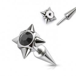 Faux piercing noir écarteur pointes Pino FAU132
