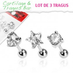 Piercing cartilage lot 3 tragus en zirconium blanc TRA037