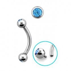 Piercing arcade boules cristal bleu Saz ARC061
