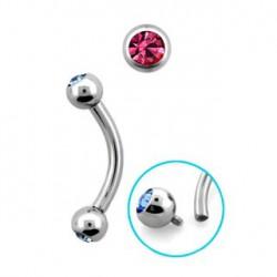 Piercing arcade 8mm avec boules cristal rose Sozop Piercing arcade3,80€