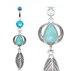 Piercing nombril vintage et turquoise bleu Gyu NOM341