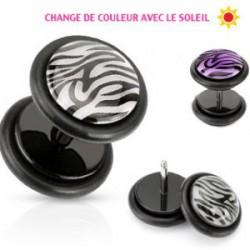 Faux piercing plug varie du blanc au violet War FAU134