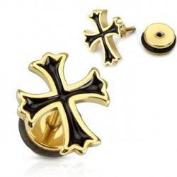 Faux piercing plug doré avec une croix noire Via FAU135