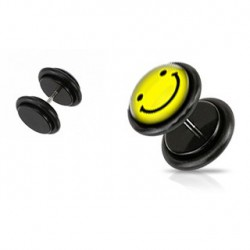 Faux piercing plug smiley jaune Piry FAU141