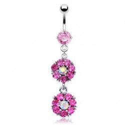 Piercing nombril double fleur rose Olovy NOM351