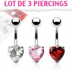 Piercing nombril en coeur lot de 3 piercings Swat NOM366