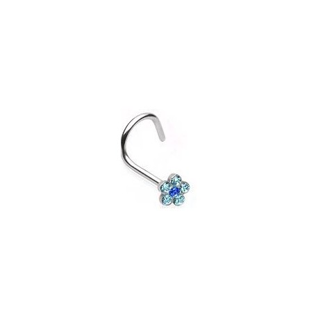 Piercing nez fleur bleu Mekhla NEZ001