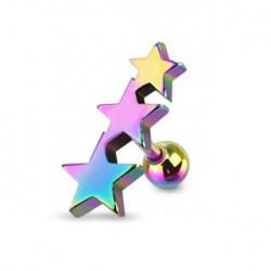 Piercing cartilage tragus triple étoile arc en ciel Piercing oreille5,80€
