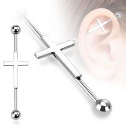Piercing industriel acier croix gothique 38mm