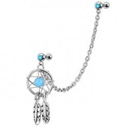 Piercing hélix capteur de rêve bleu HEL023