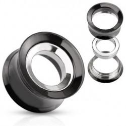 Piercing tunnel noir acier interchangeable 12mm PLU085