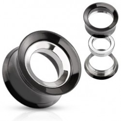 Piercing tunnel acier noir et blanc interchangeable 8mm