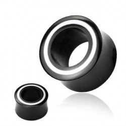 Piercing tunnel corne blanc et noir 8mm Guy PLU087