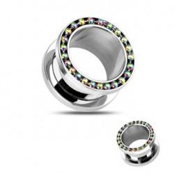 Piercing tunnel 12mm avec perles acier anodisé Thaf Piercing oreille5,49€