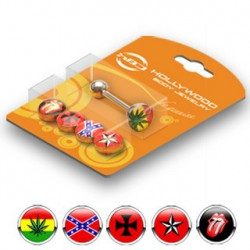 Lot piercings langue rasta croix étoile rouge Wuta LAN162