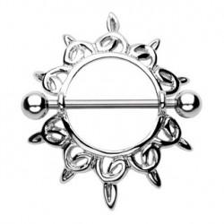Piercing téton bouclier acier étoile Raz