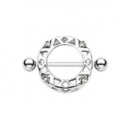 Piercing téton bouclier acier et cristal blanc Was TET053