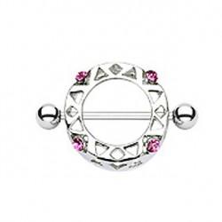 Piercing téton bouclier acier et cristal rose Won TET053