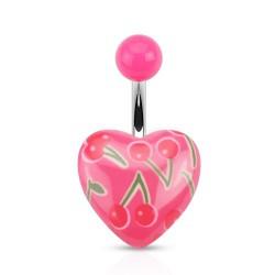 Piercing nombril coeur rose et cerises Kazi NOM409