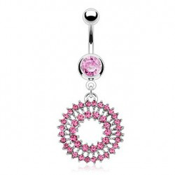 Piercing nombril double cercles rose Xat NOM410