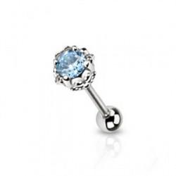 Piercing langue fleur crystal bleu Trot LAN134