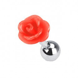 Piercing tragus fleur rose rouge Axie TRA050