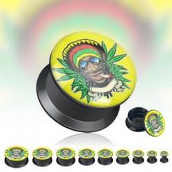 Piercing plug cannabis rasta 16mm Sak
