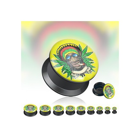 Piercing plug rasta cannabis 19mm Soak PLU002