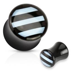 Piercing plug rayé noir et bleu 6mm Xiaz PLU094