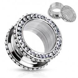 Piercing tunnel billes acier et zirconium 6mm Tins PLU095
