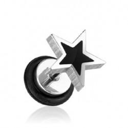 Faux piercing plug avec étoile noire Gea FAU159