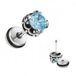 Faux piercing plug d'oreille et zirconium bleu Zy FAU160