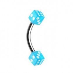 Piercing arcade dé à jouer bleu clair Sapin ARC071
