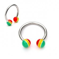 Piercing fer à cheval rayé 1,2mm boules rasta Cat