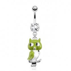 Piercing nombril pendentif hibou vert Kota NOM419